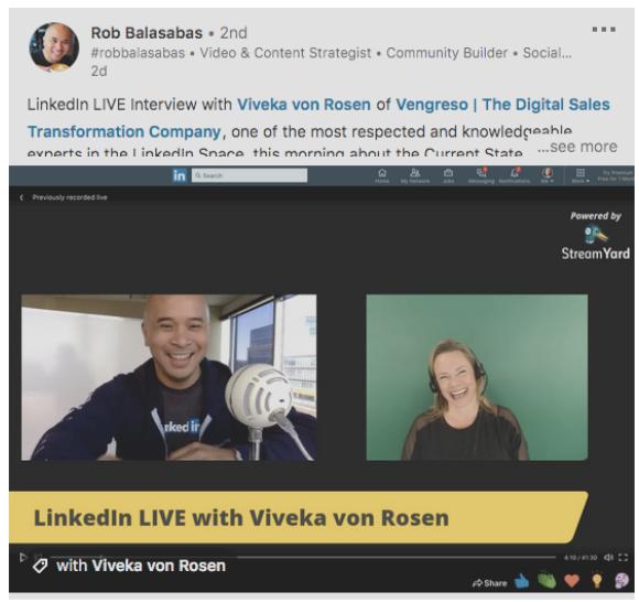 Publicación de Linkedln Live de Rob Balasabas