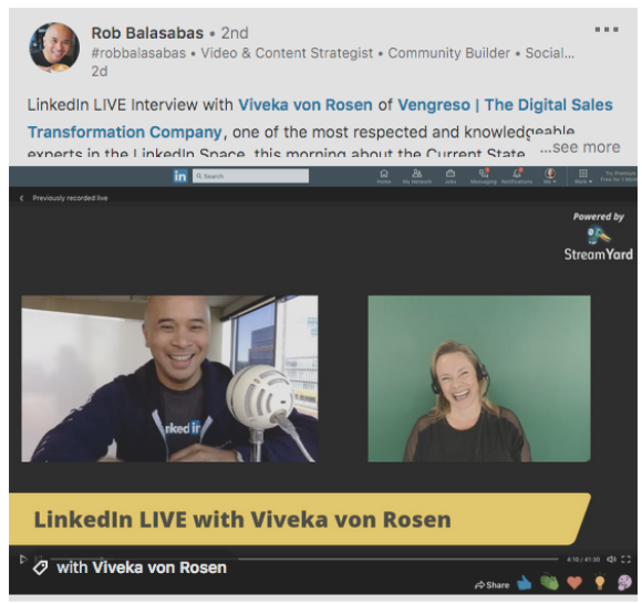 LinkedIn Live Post von Rob Balasabas