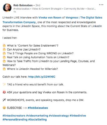 Descripción del video de Linkedln Live de Rob Balasabas