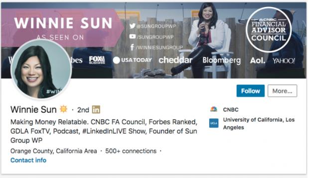 Das LinkedIn Profil von Winnie Sun