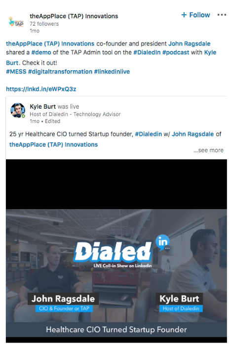 Das LinkedIn Live Demo-Video von The App Place