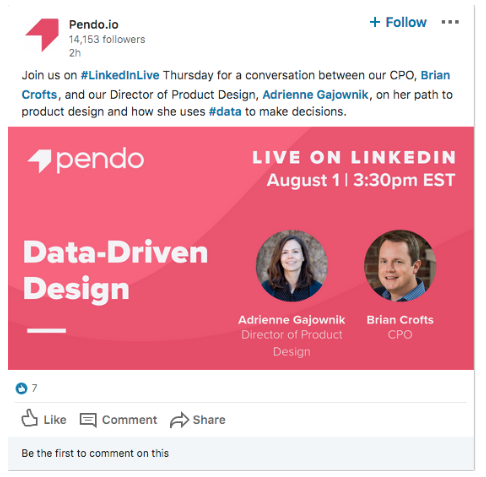 Video de LinkedIn Live de Pendo.io sobre liderazgo