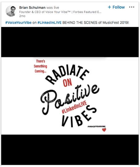 Video de LinkedIn Live de Brian Schulman mostrando un vistazo detrás de cámaras del Music Fest 2019