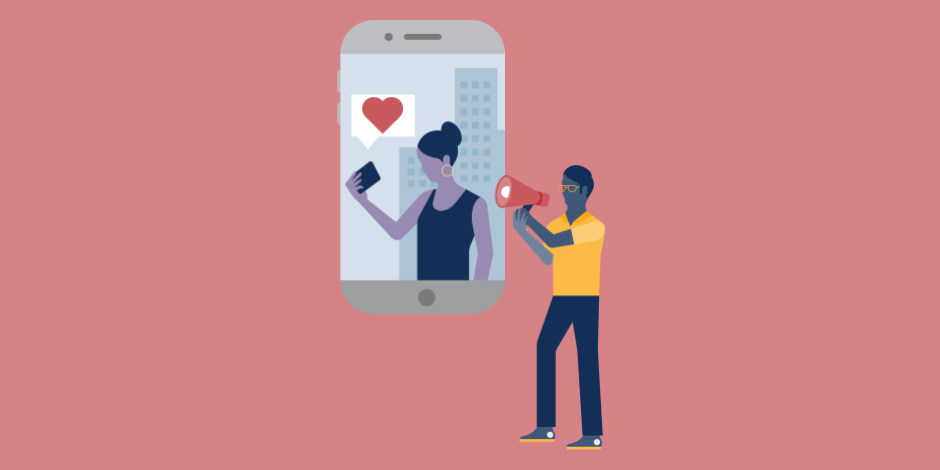 Illustration of a director with a megaphone directed at a smartphone screen showing a woman with an Instagram heart icon above her.