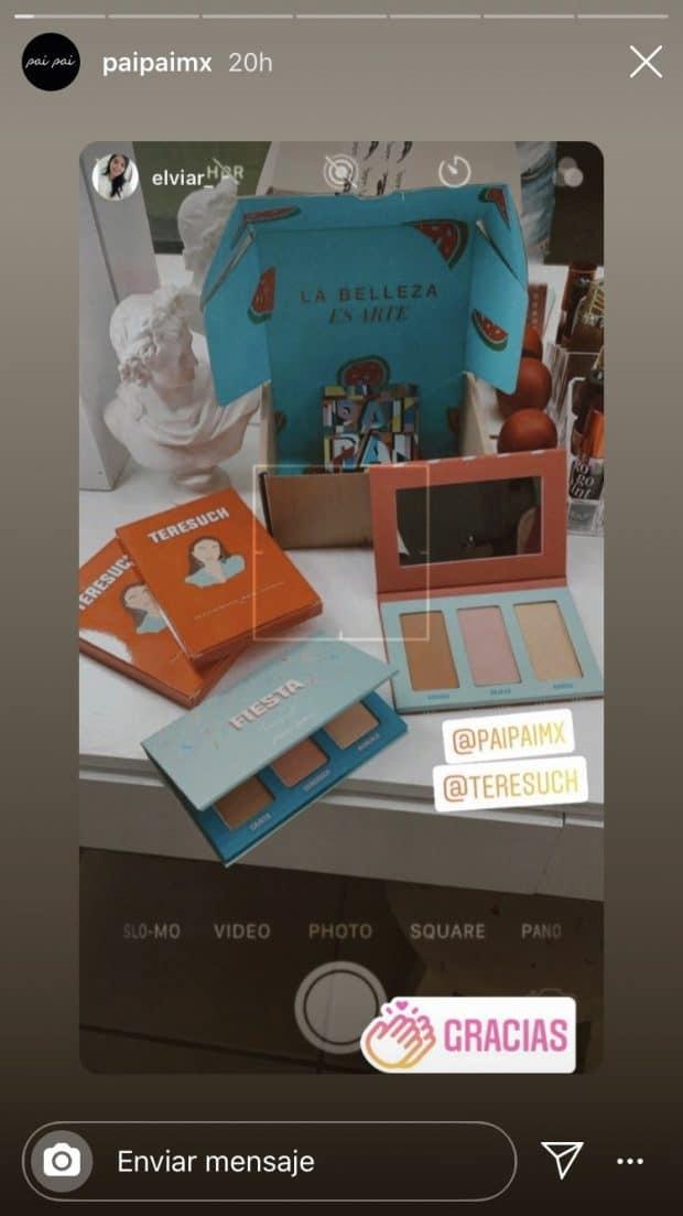 Historia de Instagram reposteada por pai pai México que muestra una paleta de sombras y dos stickers de mención.