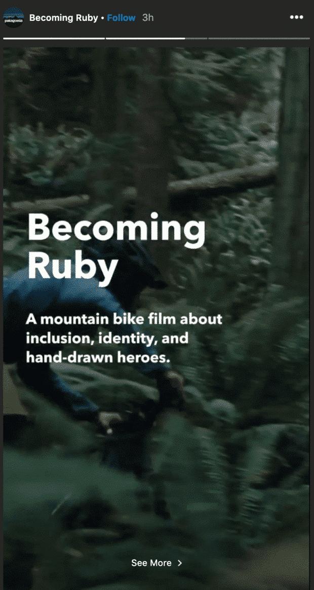 Historia de Instagram de Patagonia con el título en inglés: 'Convirtiéndose en Ruby: una historia de bicicleta de montaña sobre la inclusión, la identidad y los héroes dibujados a mano