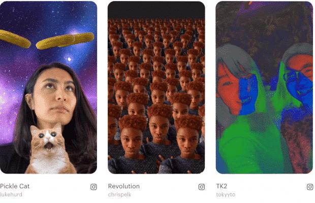 3 filtros diferentes de RA de las Historias de Instagram