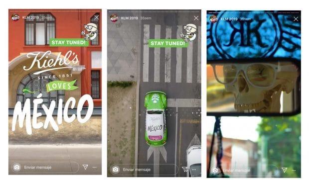 3 escenas de una Historia de Instagram de Kiehl's México