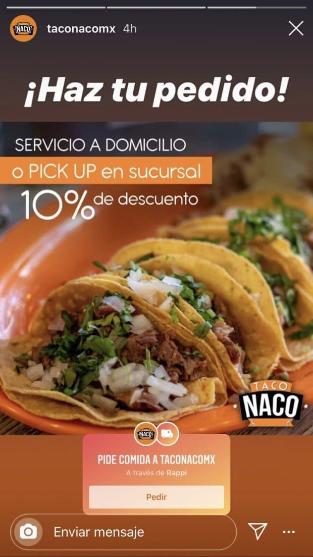 Historia de Instagram del restaurante Taco Naco que presenta un sticker para pedir comida
