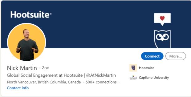 Marken-LinkedIn-Account von Nick Martin, Global Engagement Specialist bei Hootsuite
