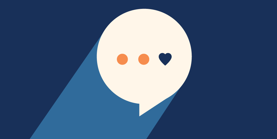 illustration of a messaging bubble with three dots inside, but last dot is a heart