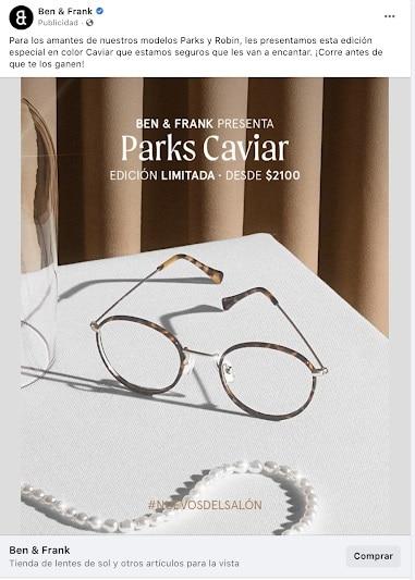 Ben & Frank anuncio con foto en Facebook