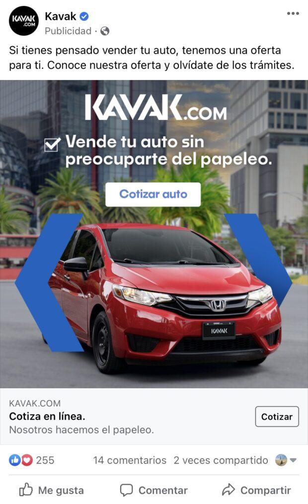 La concesionaria Kavak usa anuncios para clientes potenciales