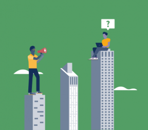 illustration: man standing on skyscraper using a megaphone to communicate with a man sitting on an adjacent skyscraper