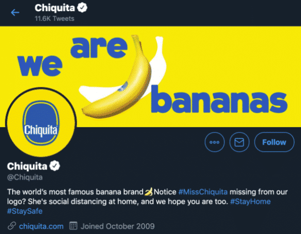 Twitter profile header image of Chiquita bananas