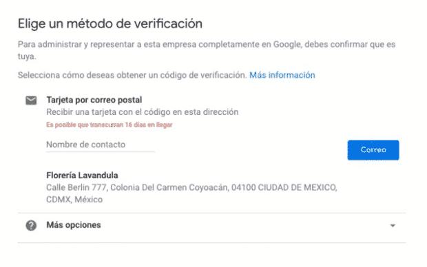 Google Mi Negocio: paso de la verificación.