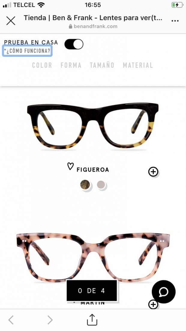 Imagen de la tienda en línea de la marca Ben & Frank en donde se ven dos modelos de lentes