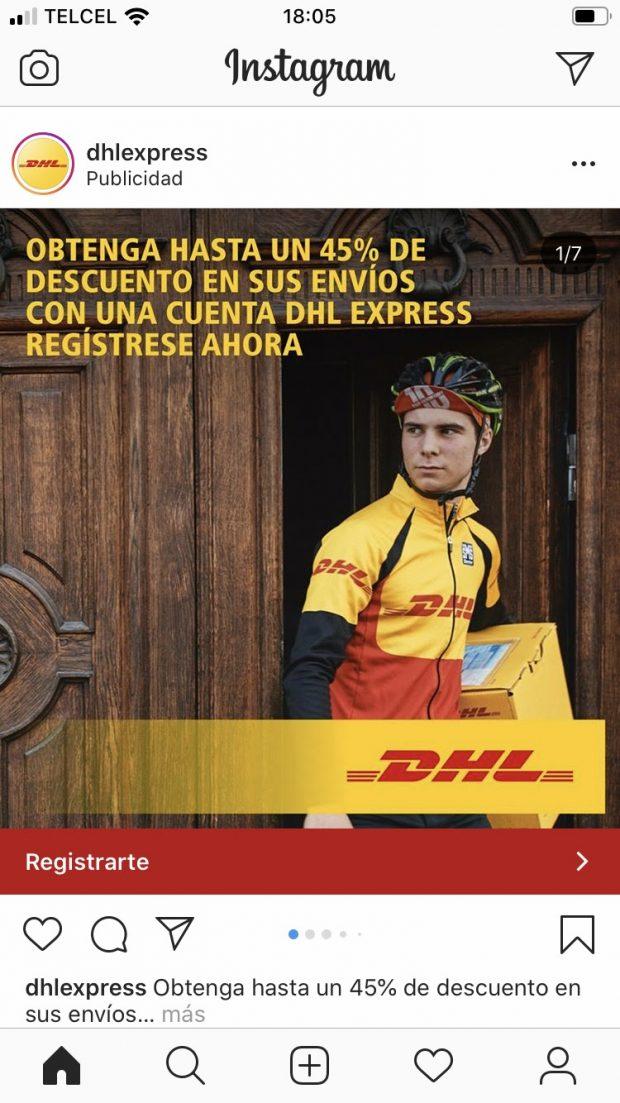 Anuncio por secuencia de la marca DHL Express que presenta a un hombre entregando un paquete