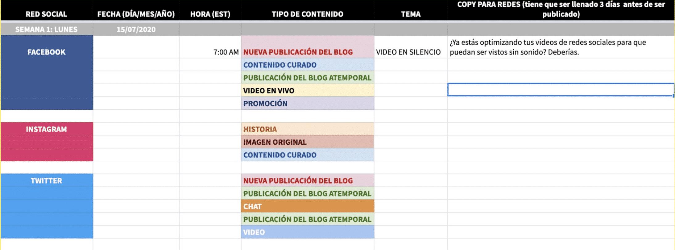 Plantilla para crear un calendario de contenido para redes sociales