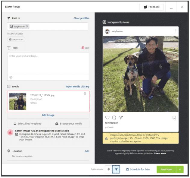 cómo editar fotos de Instagram en Hootsuite
