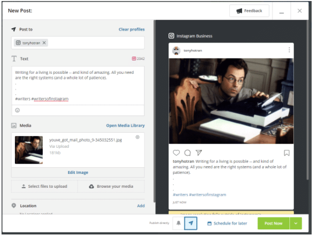 How to post on Instagram from PC using Hootsuite