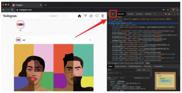 The mobile button in the Chrome Developer window