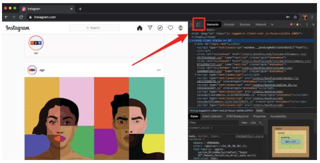 So posten Sie auf Instagram vom PC aus Schritt 4: Mobile-Schaltfläche im Chrome-Entwicklerfenster