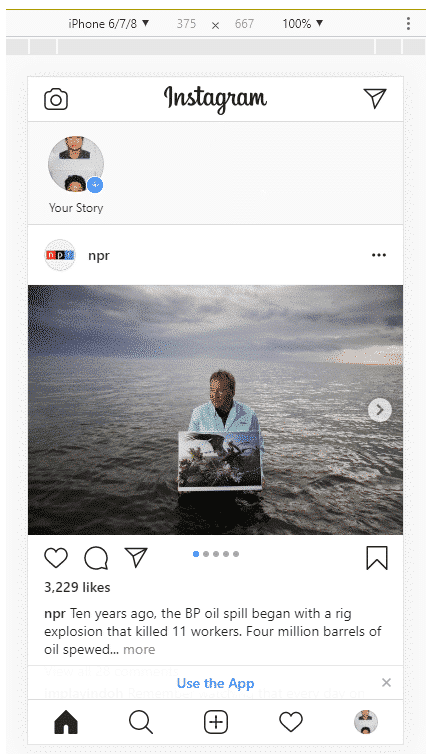 How to post on Instagram from PC step 6: Instagram mobile interface on desktop
