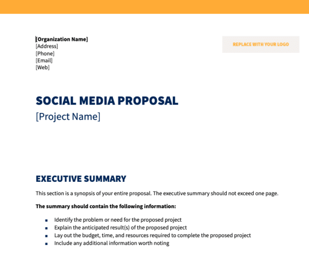 preview of social media proposal template