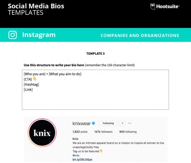 Screenshot of the social media bio templates