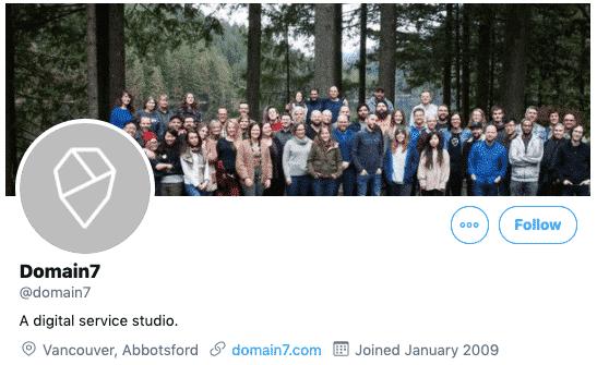 Der Screenshot zeigt das Twitter-Profil von Domain 7