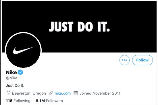 Der Screenshot zeigt das Twitter-Profil von Nike