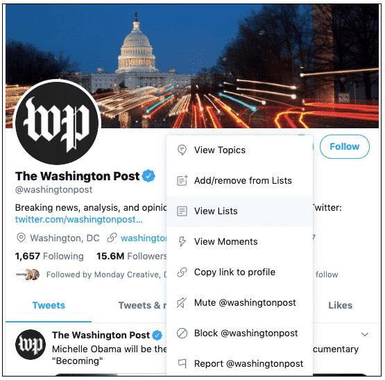 """Der Screenshot zeigt die """"Listen anzeigen""""-Option im Twitter-Profil der Washington Post]"""