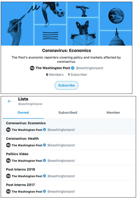 Der Screenshot zeigt die Coronavirus-Twitter-Listen der Washington Post