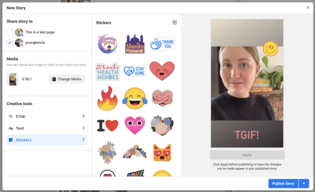 Creating an Instagram Story in Facebook Business Suite