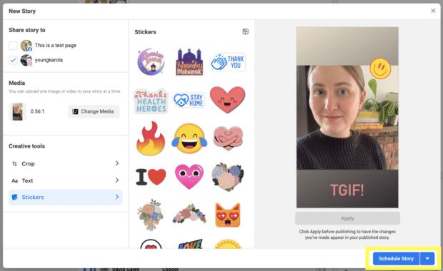Scheduling Instagram Story in Facebook Business Suite