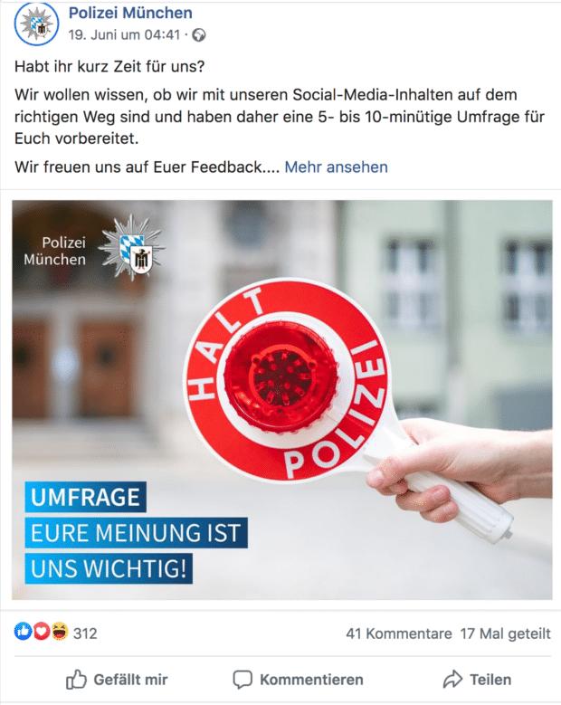 Der Screenshot zeigt einen Tweet mit einer Umfrage der Polizei München