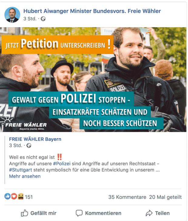 Der Screenshot zeigt einen Tweet von Hubert Aiwanger, stellvertretender Ministerpräsident von Bayern sowie Staatsminister für Wirtschaft, Landesentwicklung und Energie im Kabinett Söder zu den Ausschreitungen in Stuttgart