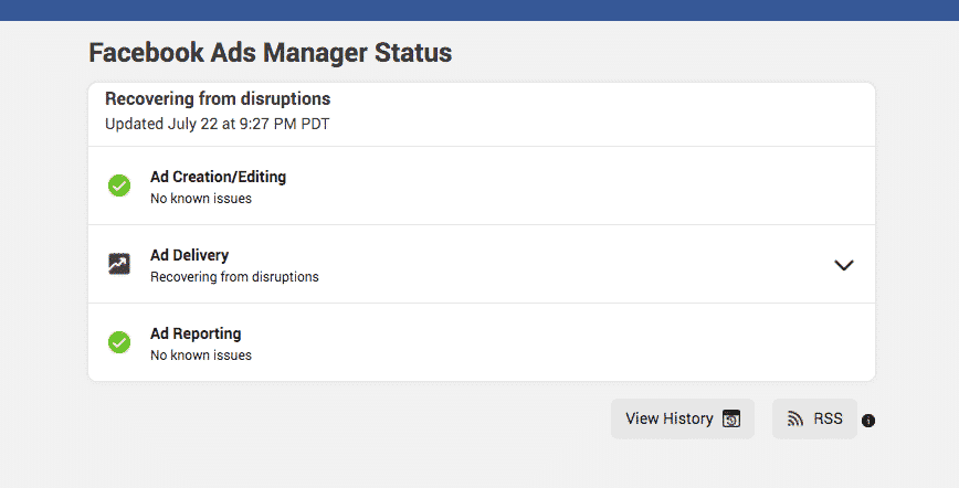 Update of the status tool of the Facebook Ads Manager