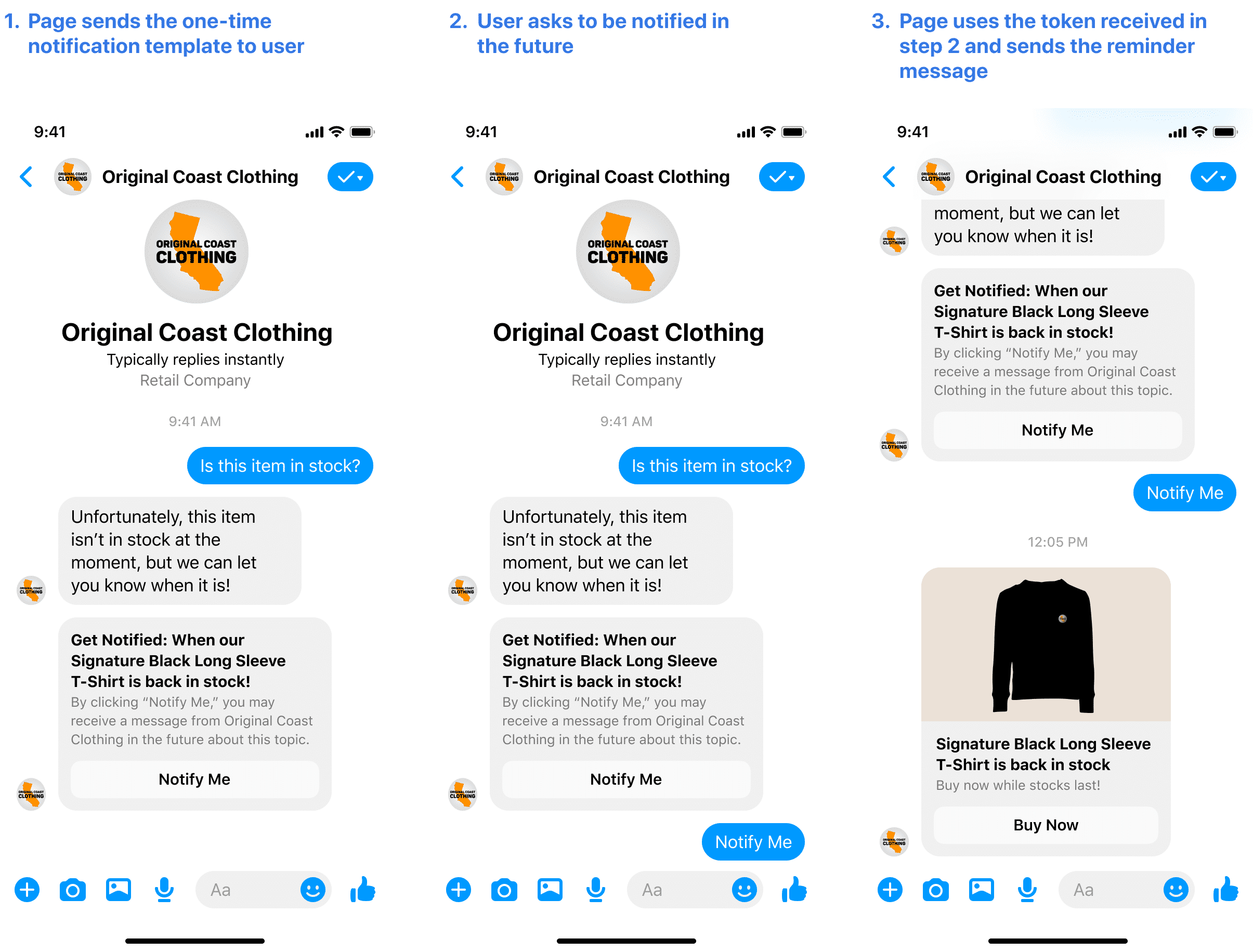 One-time notification API update for Facebook Messenger