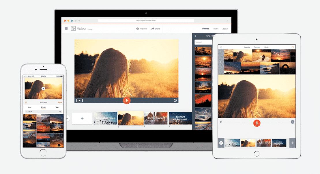 Adobe Spark sur iPhone, ordinateur et iPad