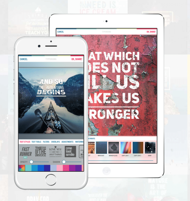 application typorama pour stories Instagram