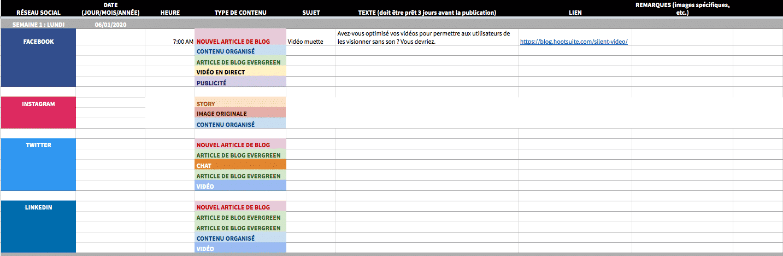 capture d'écran du modèle de calendrier de contenu