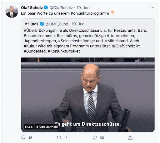 Der Screenshot zeigt einen Tweet von Olaf Scholz, Vize-Kanzler und Finanzminister der Bundesrepublik Deutschland zum Thema Konjunkturprogramm