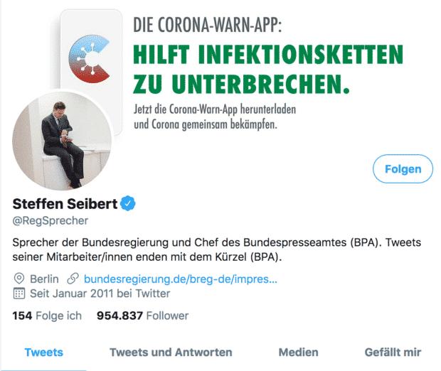 Der Screenshot zeigt einen Tweet zur Corona Warn-App von Steffen Seibert, Sprecher der deutschen Bundesregierung