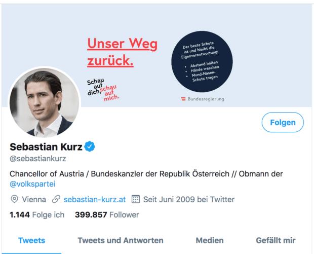 Der Screenshot zeigt einen Tweet des österreichischen Bundeskanzlers Sebastian Kurz zum Thema Corona
