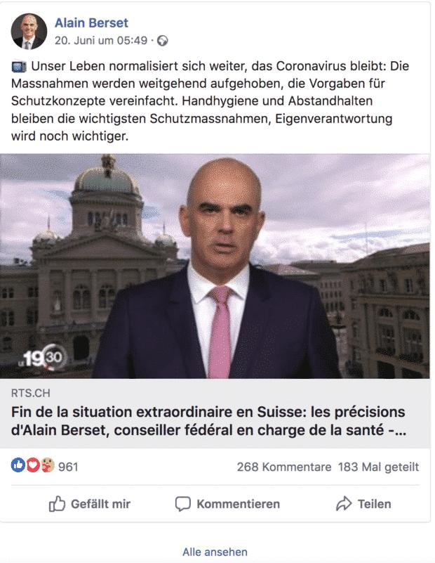 Der Screenshot zeigt einen Tweet des Schweizer Politikers Alain Berset zum Thema Corona