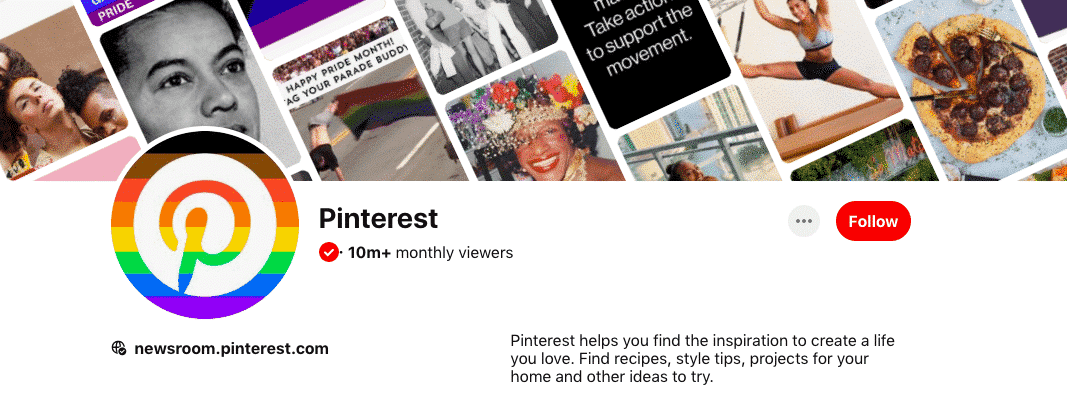 Pinterest home page verification check mark