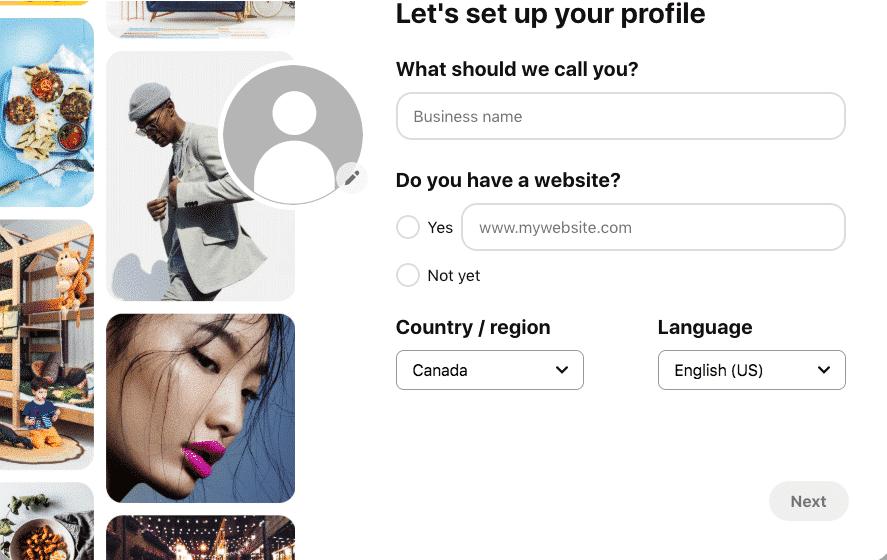 Pinterest business account profile set up