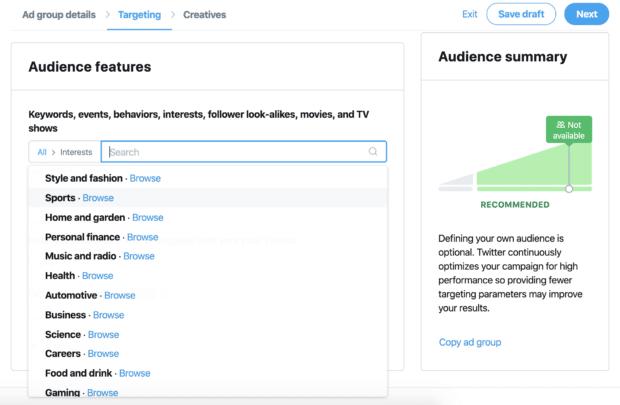 Twitter interest targeting